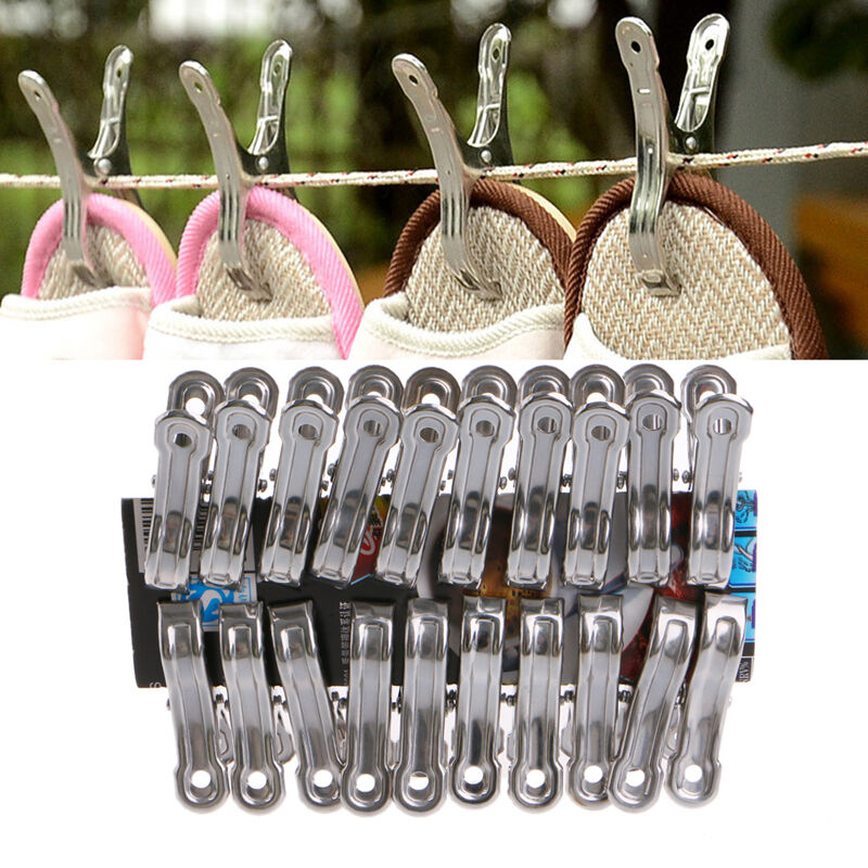 20 Pcs Stainless Steel Clothes Pegs Hanging Pins Laundry