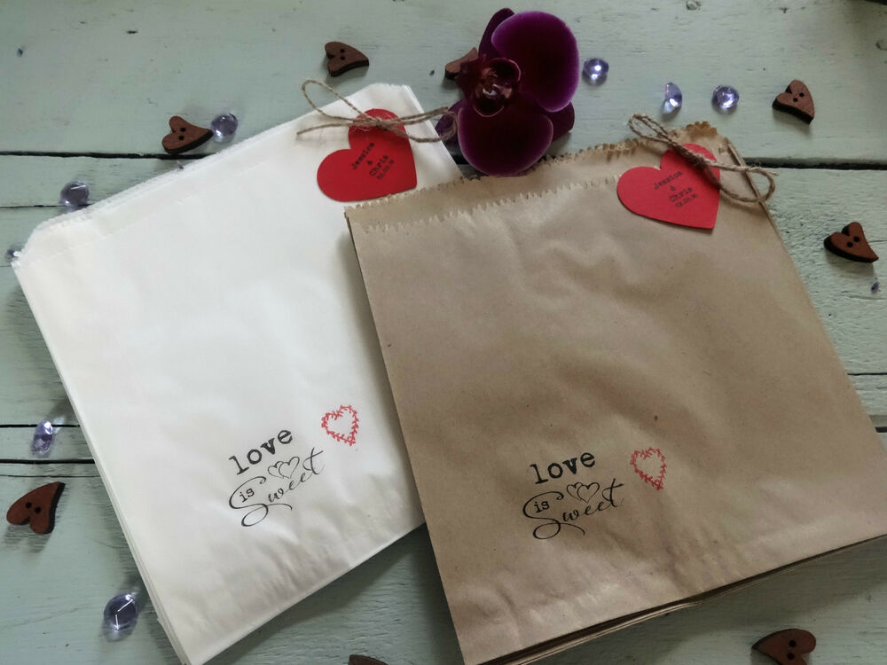 wedding favour sweet candy bags personalised rustic vintage brown white cake ebay. Black Bedroom Furniture Sets. Home Design Ideas