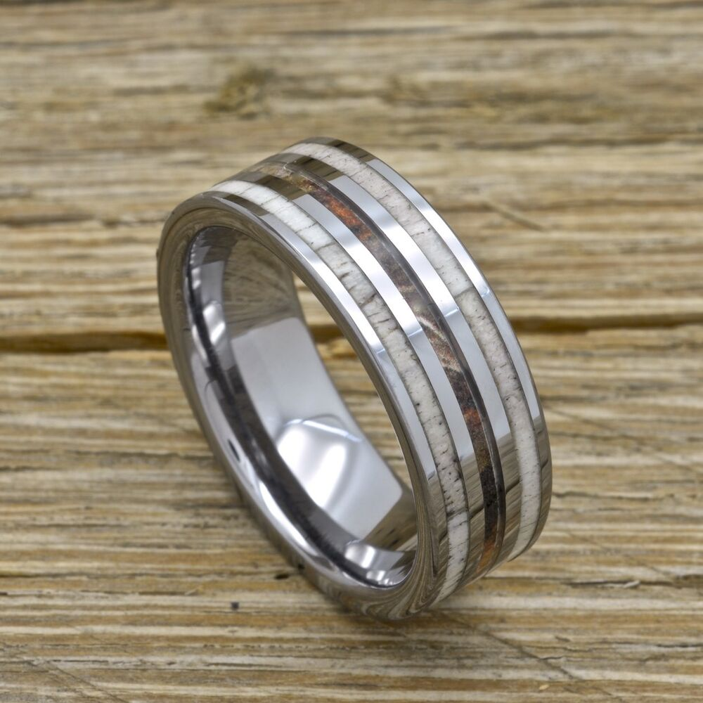 Mens Deer Antler Camouflage Ring Tungsten Comfort Fit Wedding Band Sizes 8 15