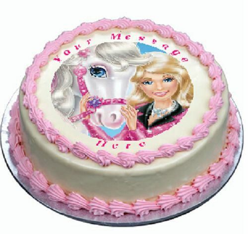 Barbie Horse Cake topper edible image icing Birthday Party ...