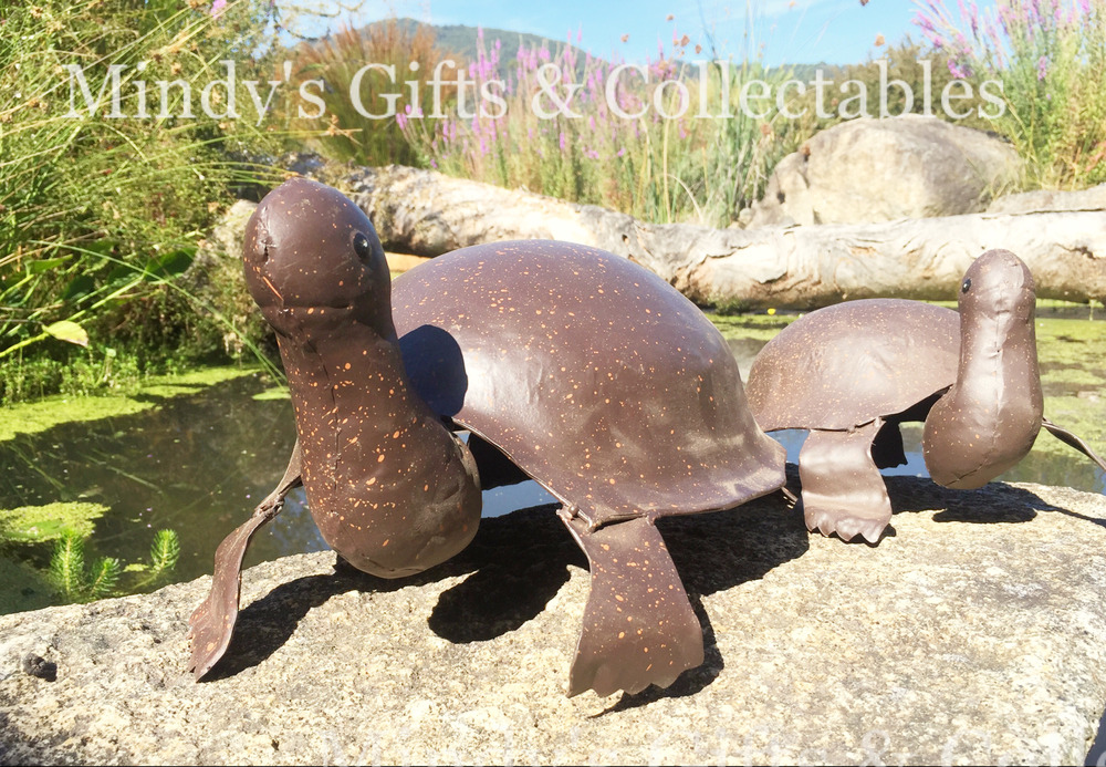 Set of 2 metal turtles 39cm 27cm long garden pond statue for Garden pool ornaments