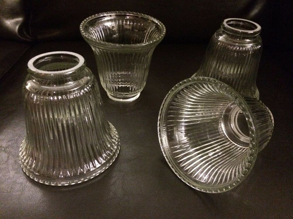 Vintage Clear Ribbed Glass Ceiling Fan Light Globe Shades