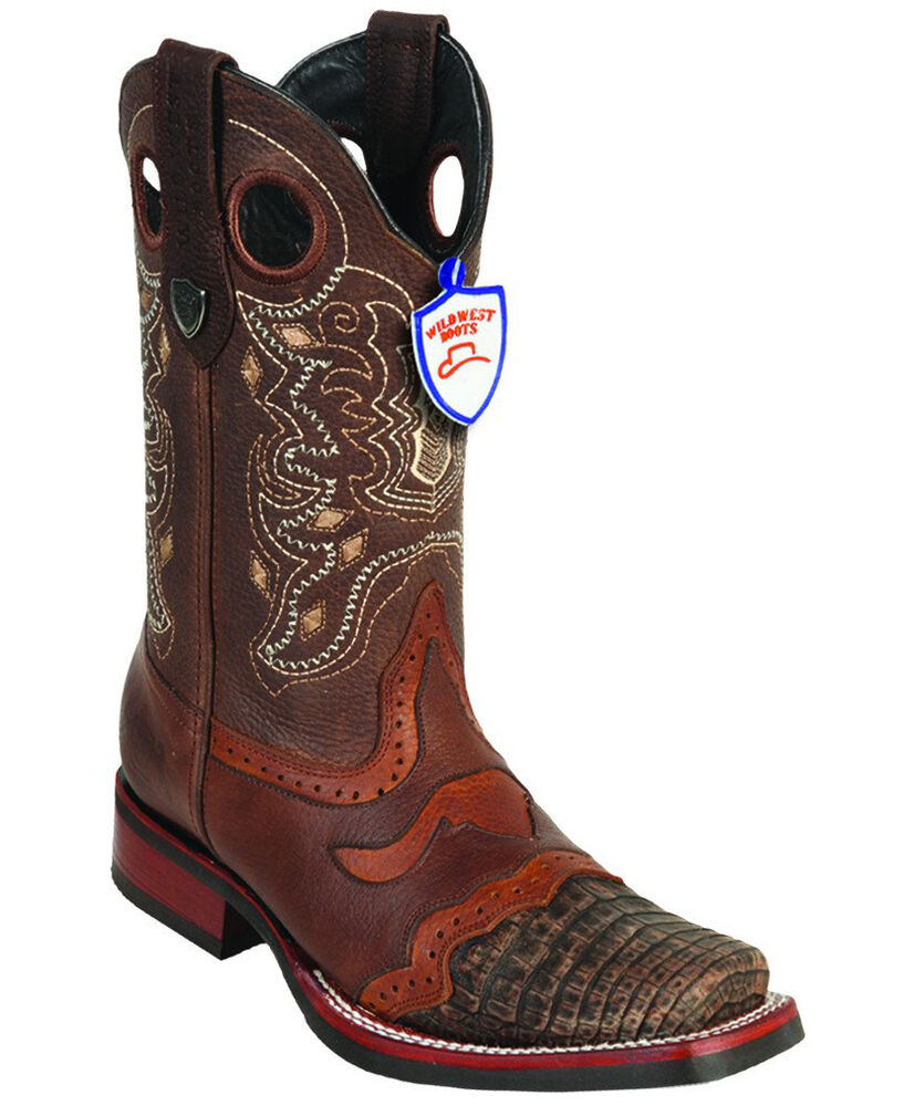15e80857db5 Men's Wild West Genuine Square Toe Caiman Belly Boots Saddle Vamp Rubber  Outsole | eBay