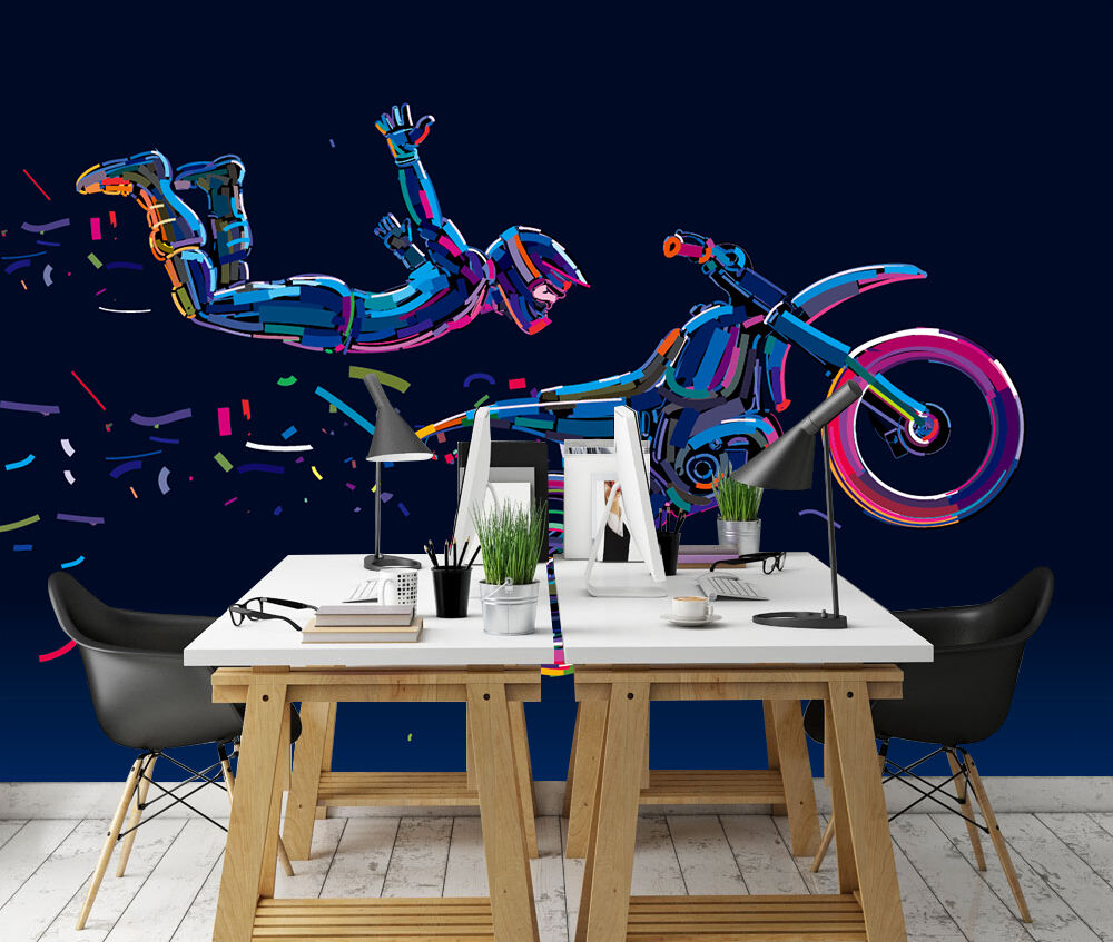 3d farbe motorrad 67 fototapeten wandbild fototapete bild tapete familie kinder ebay. Black Bedroom Furniture Sets. Home Design Ideas