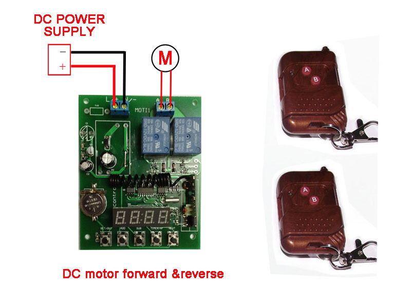 Rf radio remote control timer switch dc 12v motor forward for Timer switch for motor