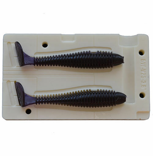 Diy soft plastic lure bait mold swimbait tail v25 3 8 inch for Fishing worm molds