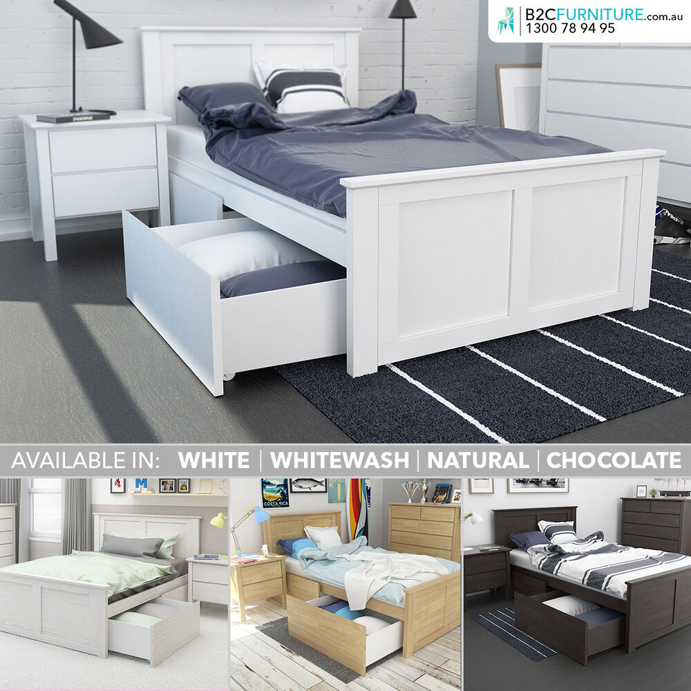 King Single Bed With Storage Drawers Solid Timber White