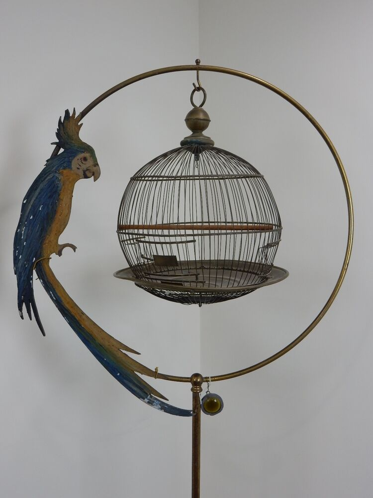 antique 19th century hendryx bird cage and stand ebay. Black Bedroom Furniture Sets. Home Design Ideas
