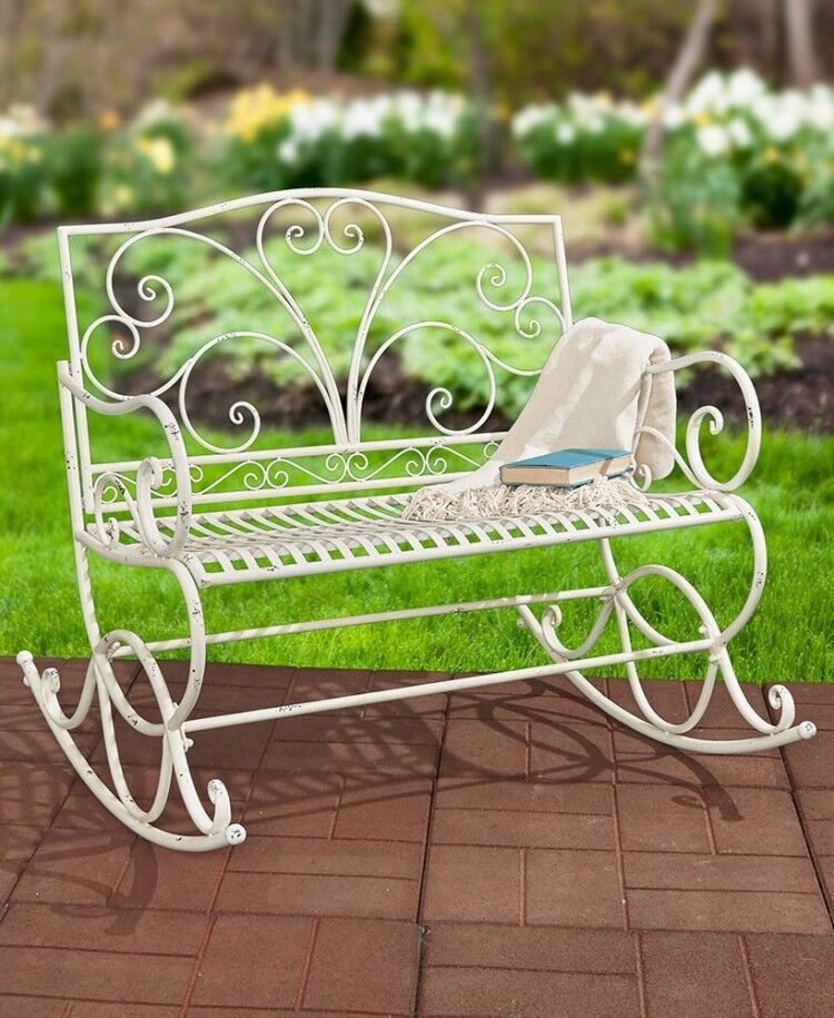 Outdoor Rocker White Metal Rocking Bench Glider Chair