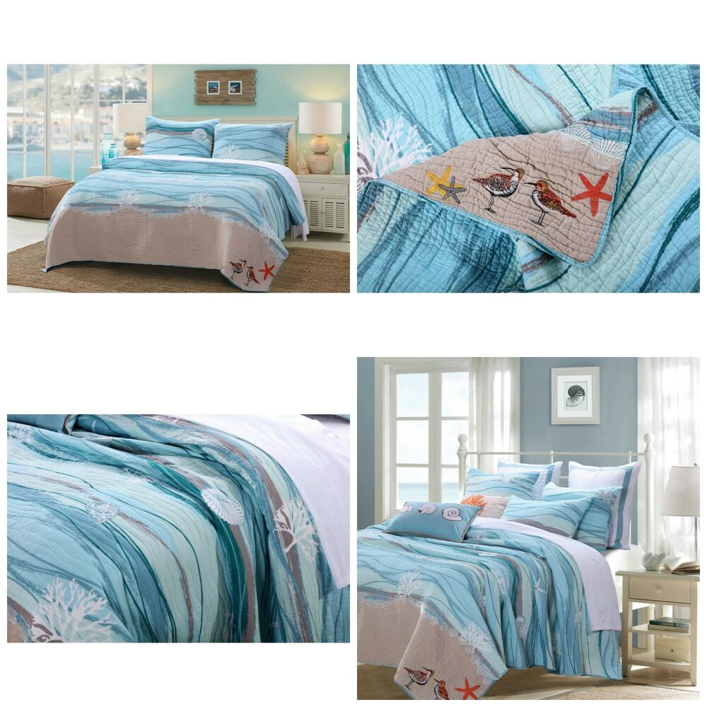 Nautical Bedding King: King Size 3 Piece Cotton Quilt Set Blue Nautical Ocean