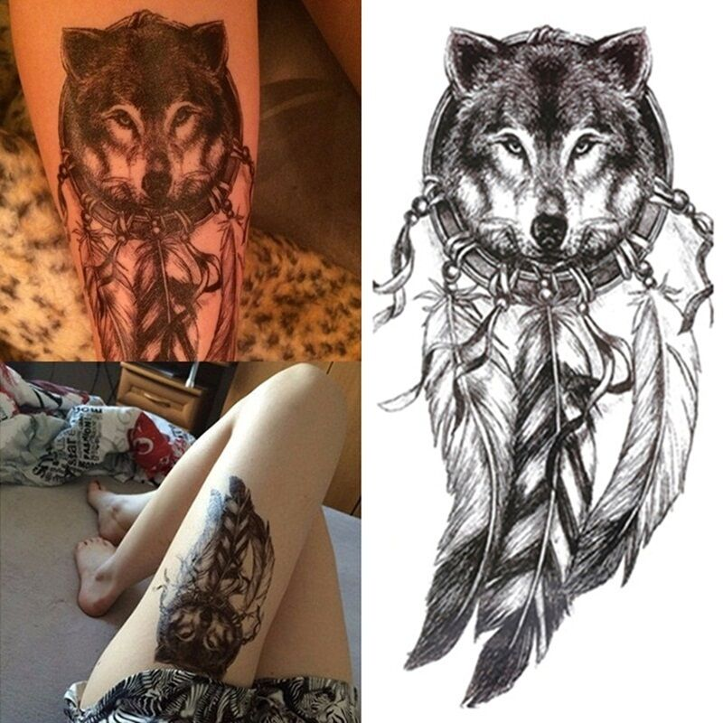 3d wolf feder wasserfest einmal tattoo body k rper tattoos aufkleber hauttattoo ebay. Black Bedroom Furniture Sets. Home Design Ideas