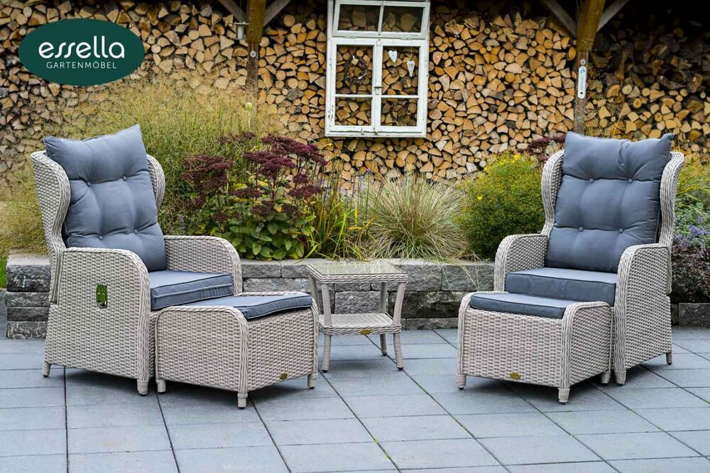 essella polyrattan lounge sessel hochlehner garten stuhl sitzgruppe garnitur neu ebay. Black Bedroom Furniture Sets. Home Design Ideas