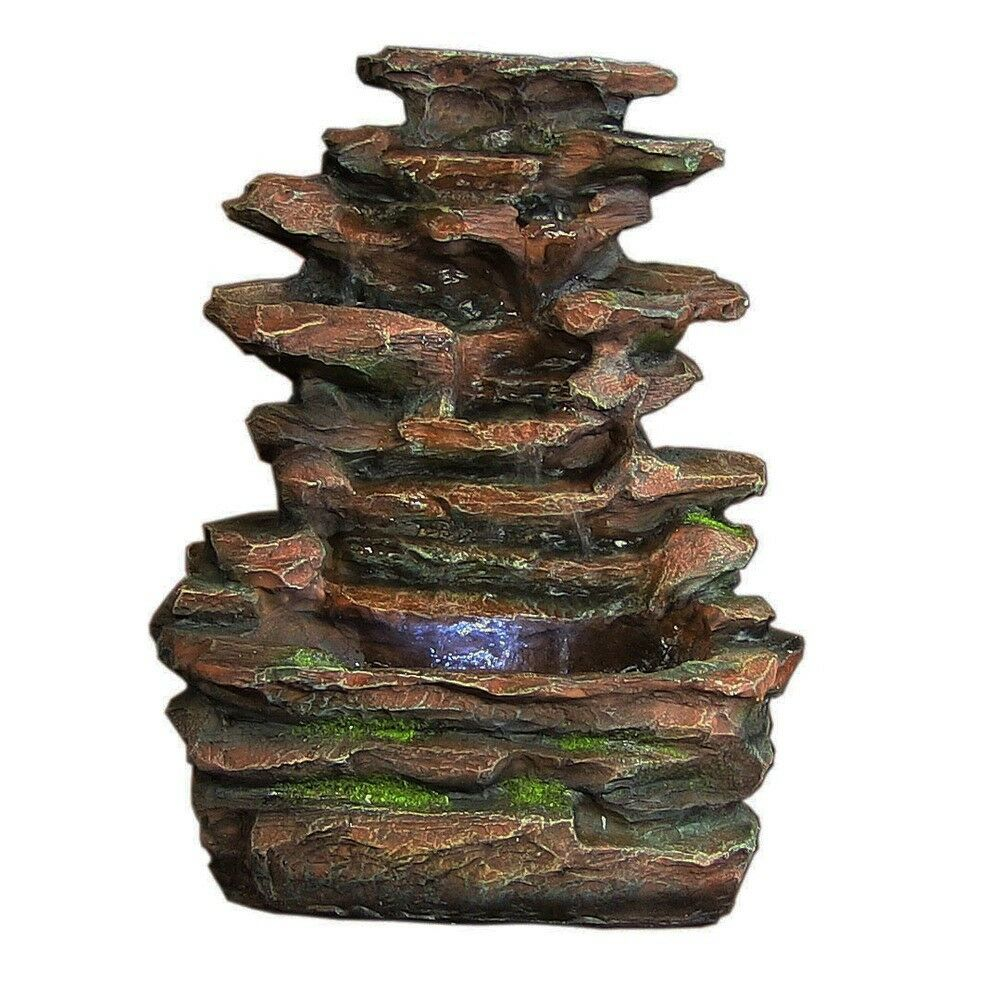 Indoor Water Fountain LED Light Resin Rock Tabletop Small