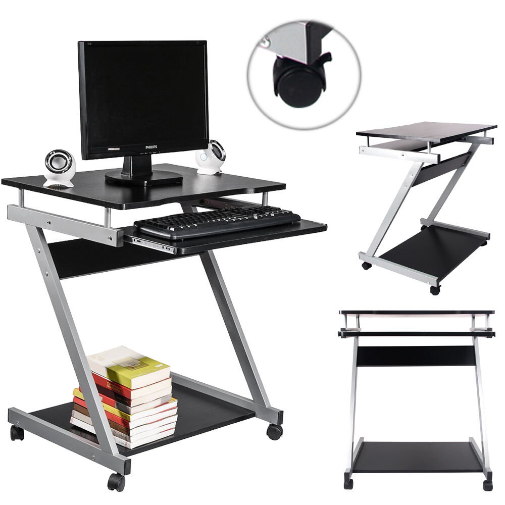 Rolling computer desk portable laptop table work station for Work desks home