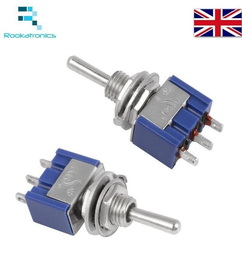 Miniature Toggle Switch 3 Pin On Off On Spdt 6a 125vac 3a