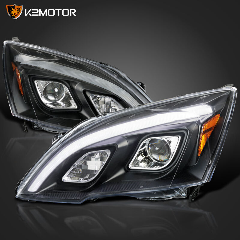 For 2007 2011 Honda CRV CR V JDM Black LED DRL Projector
