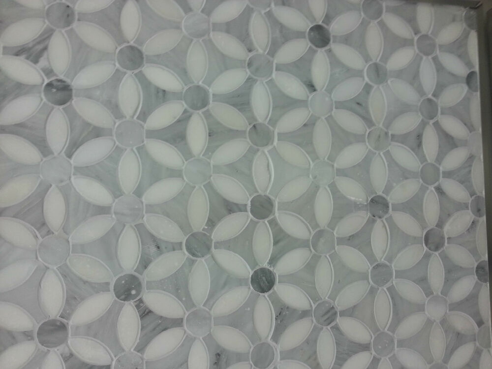 Marble Polished Carrera New Flower Mosaic Tile Carrara Ebay