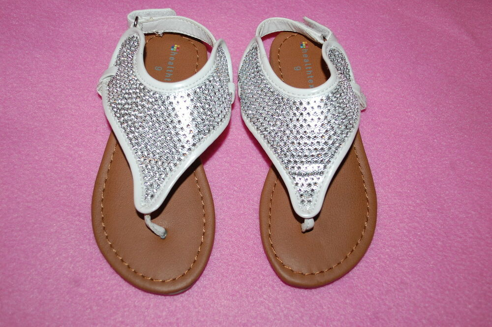 97858b250ca2d5 Details about Baby Girls WHITE w  SILVER SPARKLE RHINESTONE V THONG SANDALS  Ankle Strap 4