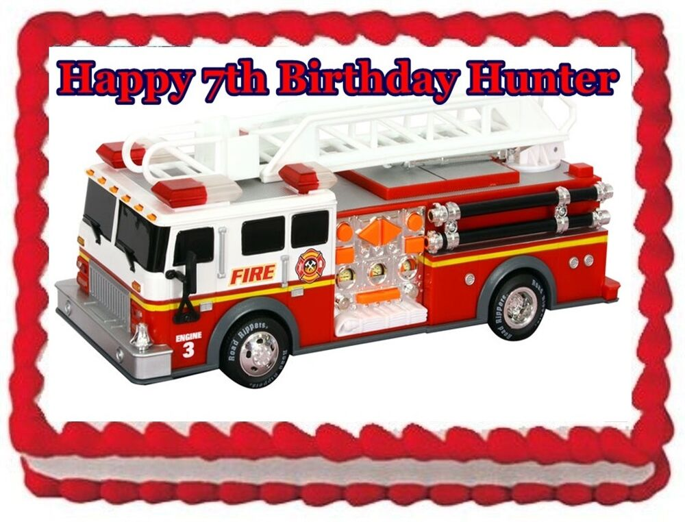 Edible Fire Truck Cake Topper