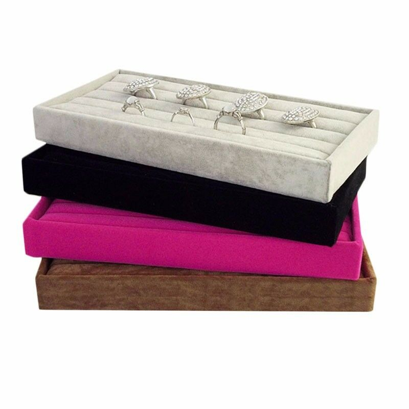 New Velvet Jewelry Ring Display Organizer Case Tray Holder