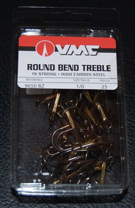 VMC 9650 Round Bend Treble Hooks Size 2 Pack of 25 9650BZ-02 Bronze 1X Strong