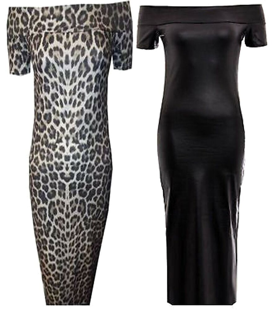 666eb5281c Details about New Womens Plus Size Offshoulder Midi Wetlook PVC Animal  Print Dress