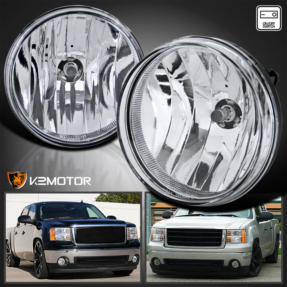 GMC 07-13 Sierra 1500 2500HD 3500HD Pickup Clear Bumper Fog Lights+Switch+Bulbs | eBay