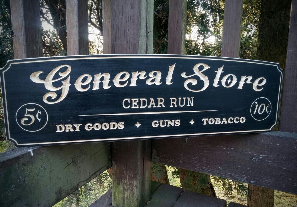 Old Man S Cave General Store Hours : General store personalized rustic carved wood sign man