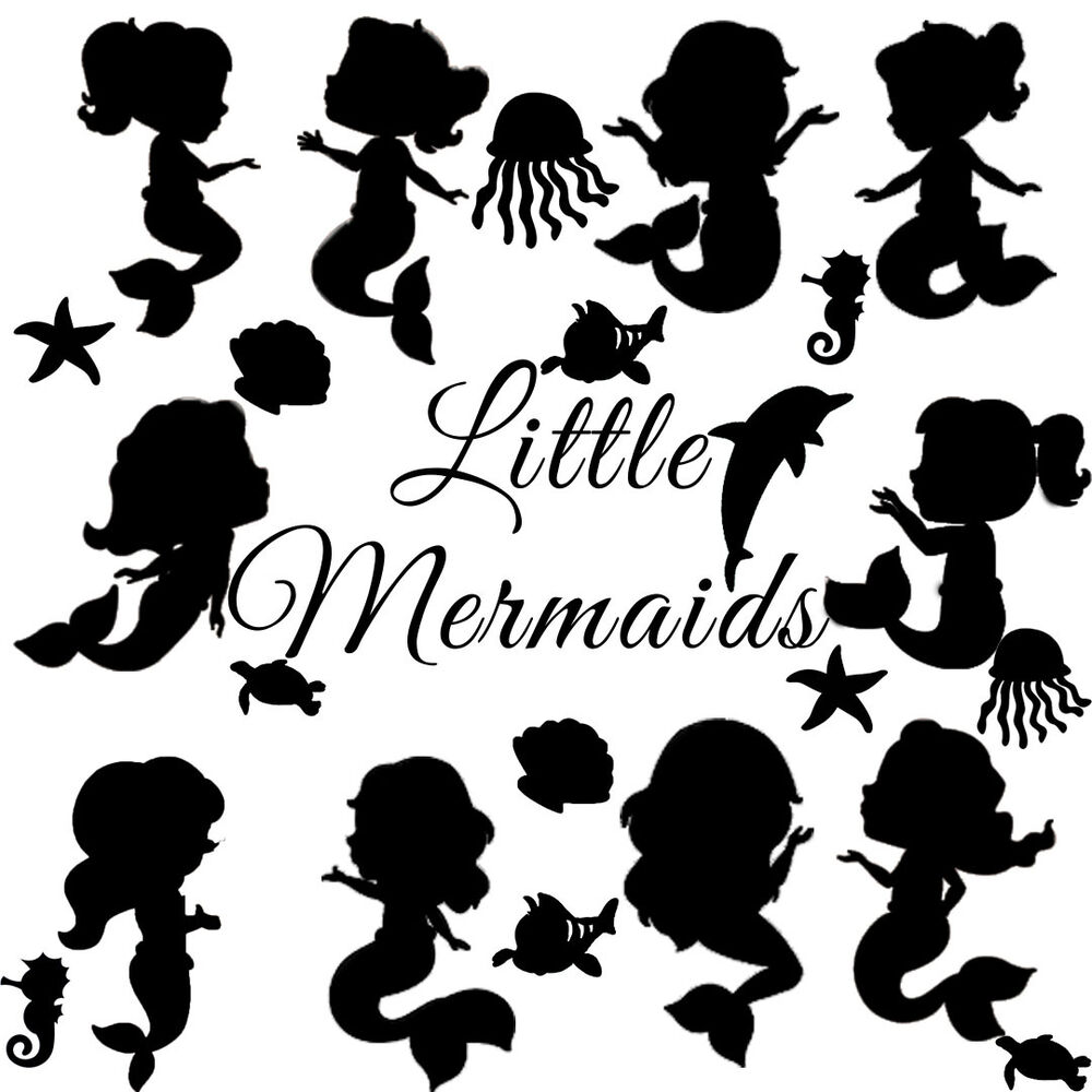Die Cut Outs Silhouette Cute Little Mermaid Shapes Cards