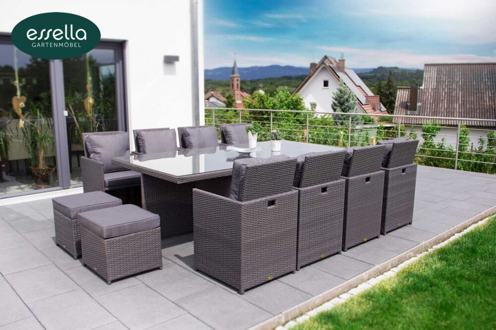 essella polyrattan gartenm bel essgruppe sitzgruppe rattan gartenset cube w rfel ebay. Black Bedroom Furniture Sets. Home Design Ideas
