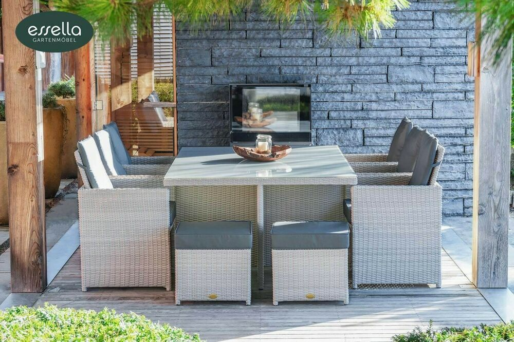 essella polyrattan gartenm bel essgruppe sitzgruppe rattan. Black Bedroom Furniture Sets. Home Design Ideas