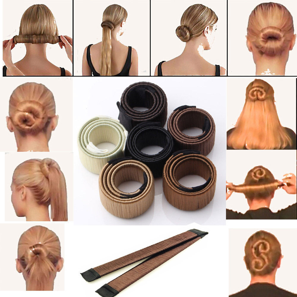 women girl hair styling donut former foam french twist magic diy tool bun maker ebay. Black Bedroom Furniture Sets. Home Design Ideas