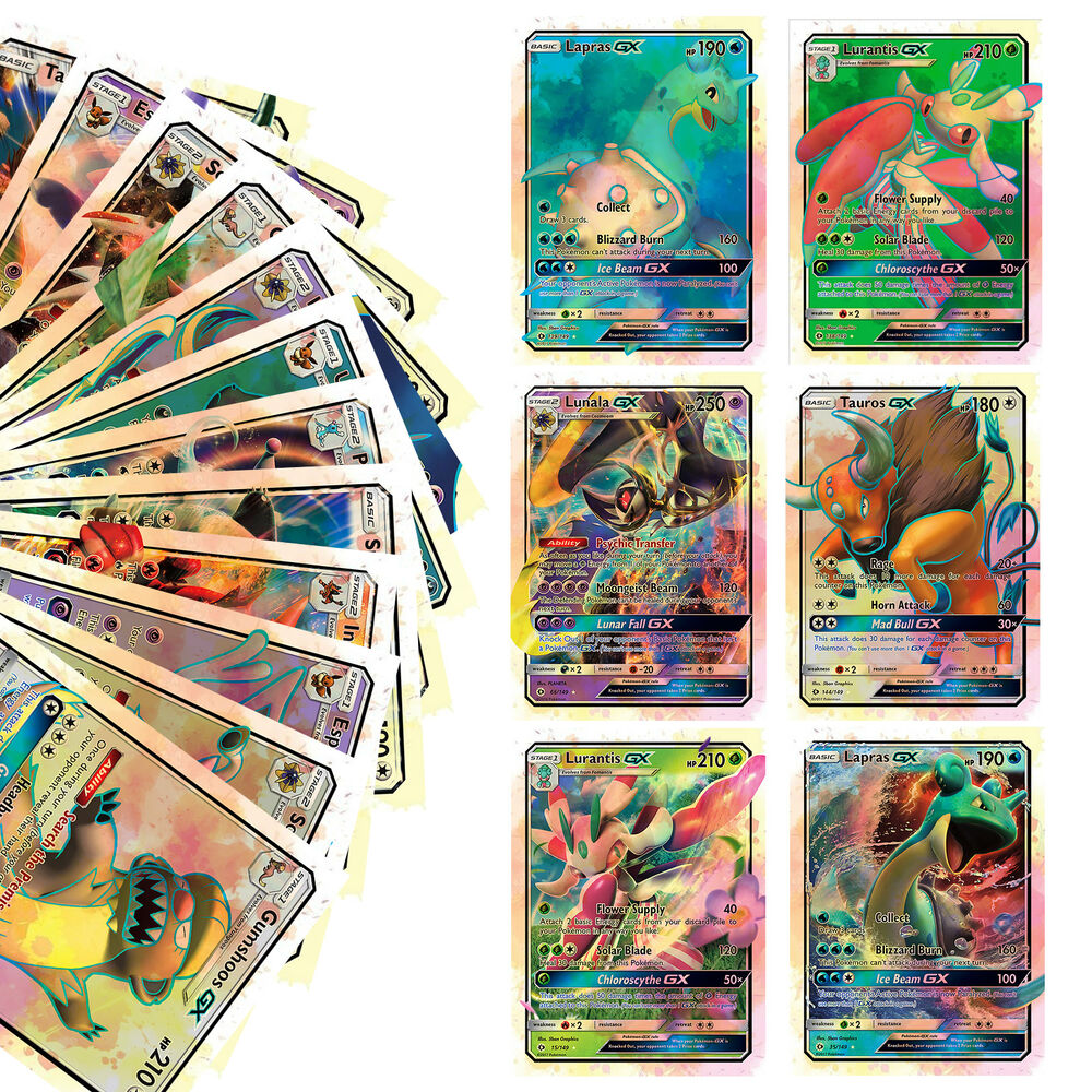20PCS Pokemon Sun And Moon Ultra Holo Pokemon GX Flash