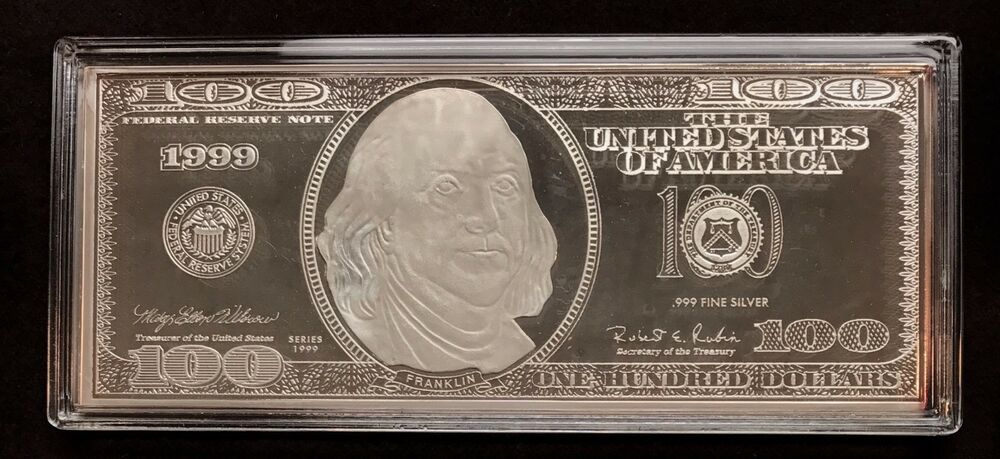 1999 4oz 999 Silver 100 Bill Deep Mirror Proof