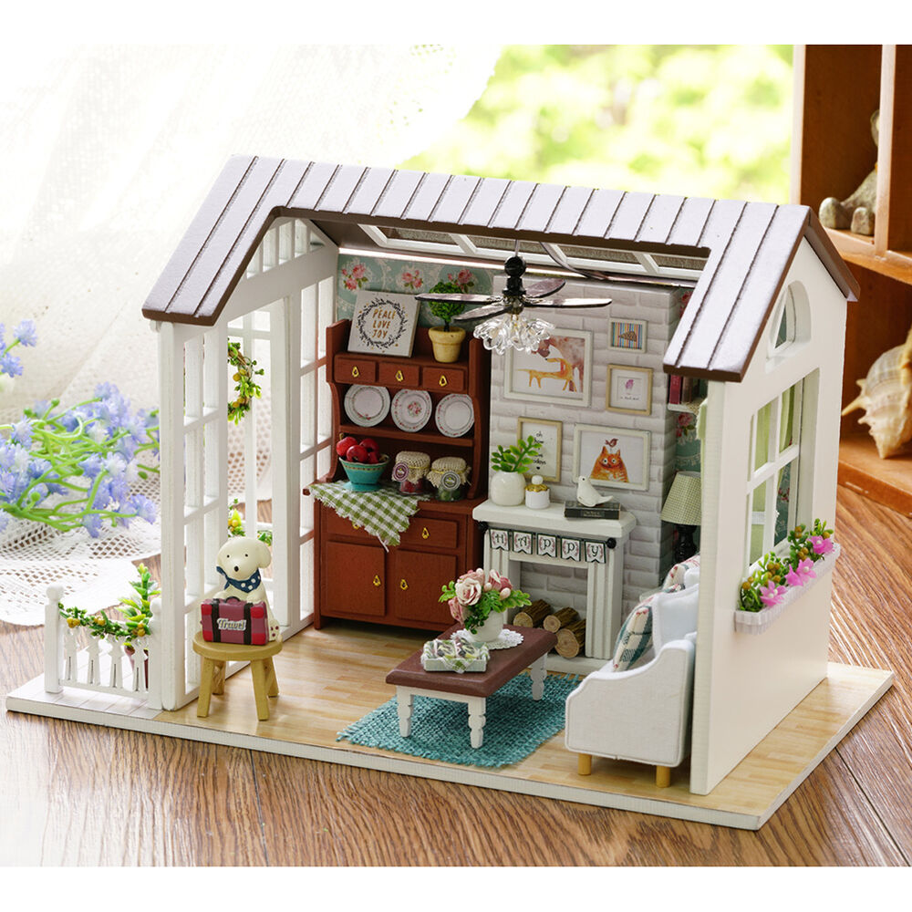 Mini Wooden Dollhouse Happy Times DIY Doll House LED Music ...