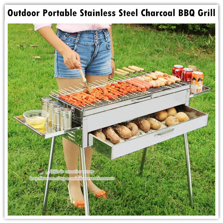 multifunctional portable outdoor stainless steel charcoal bbq grill storage bag ebay. Black Bedroom Furniture Sets. Home Design Ideas
