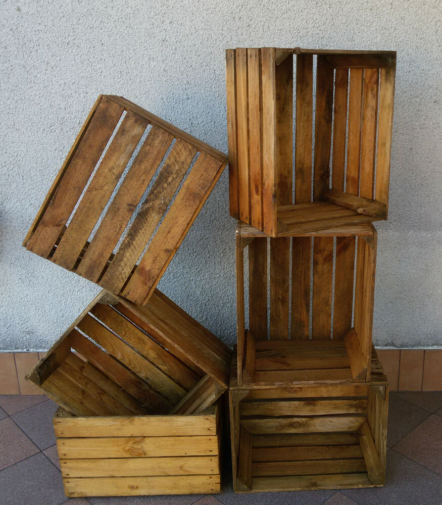 6 wooden crates fruit apple boxes vintage home decor best storage box solution ebay - Decorative wooden crates ...