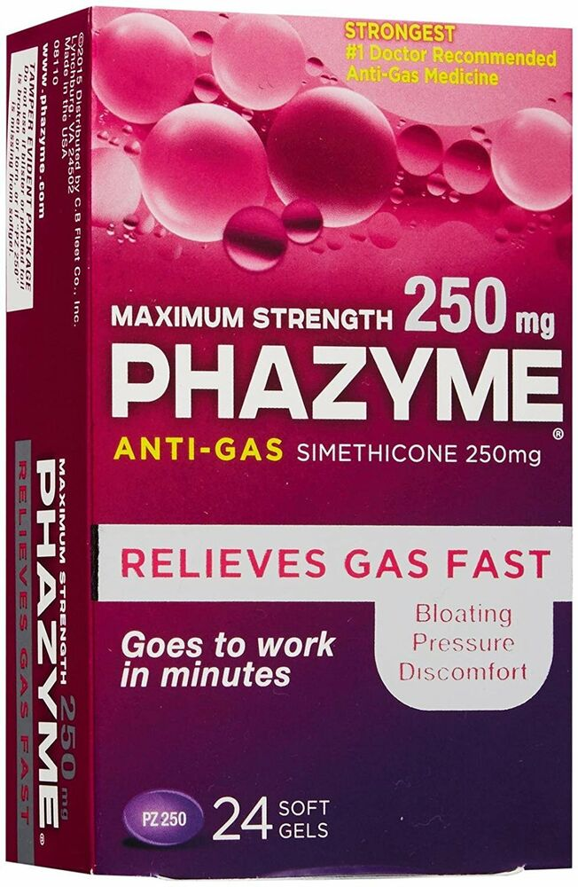 phazyme maximum strength gas relief 250 mg 24 softgels pack of 3