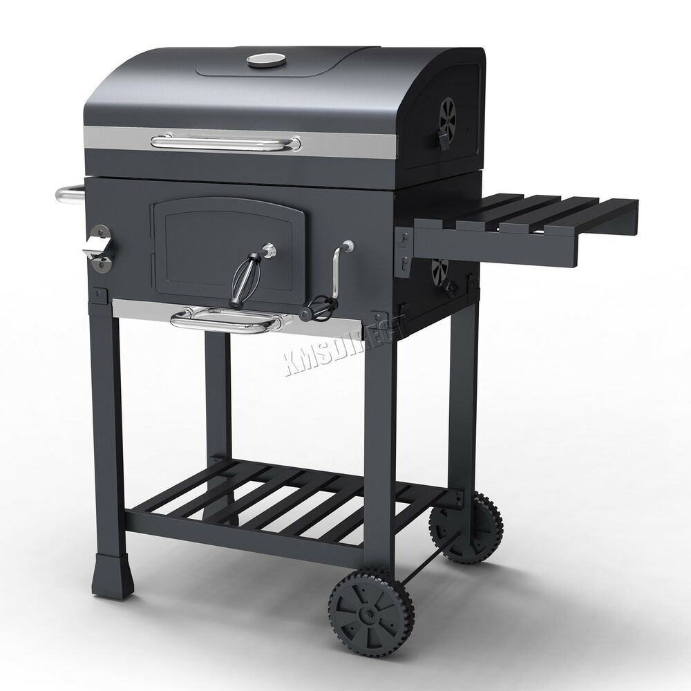 foxhunter charcoal bbq grill barbecue smoker grate garden portable outdoor grey ebay. Black Bedroom Furniture Sets. Home Design Ideas
