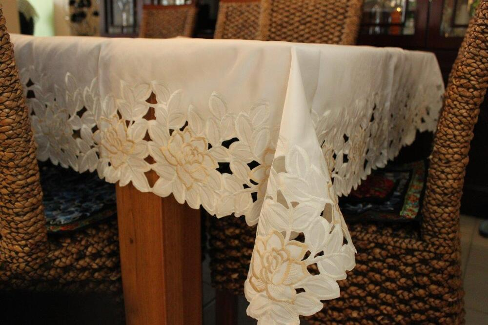 Rectangle Oblong Embroidered Lace Tablecloth 150x230cm 6 8