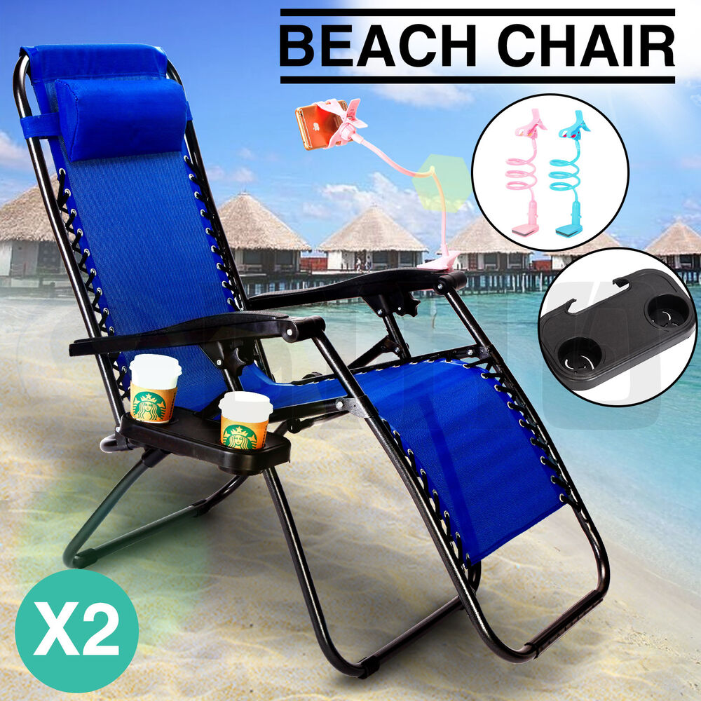 2 Navy Zero Gravity Lounge Beach Chair Utility Tray Folding Outdoor Recliner