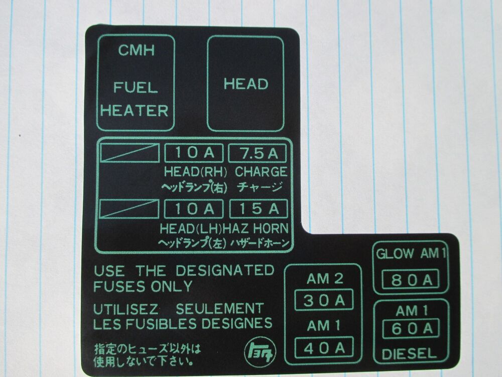1984 1985 1986 1987 1988    toyota       pickup    new    fuse    box label   eBay