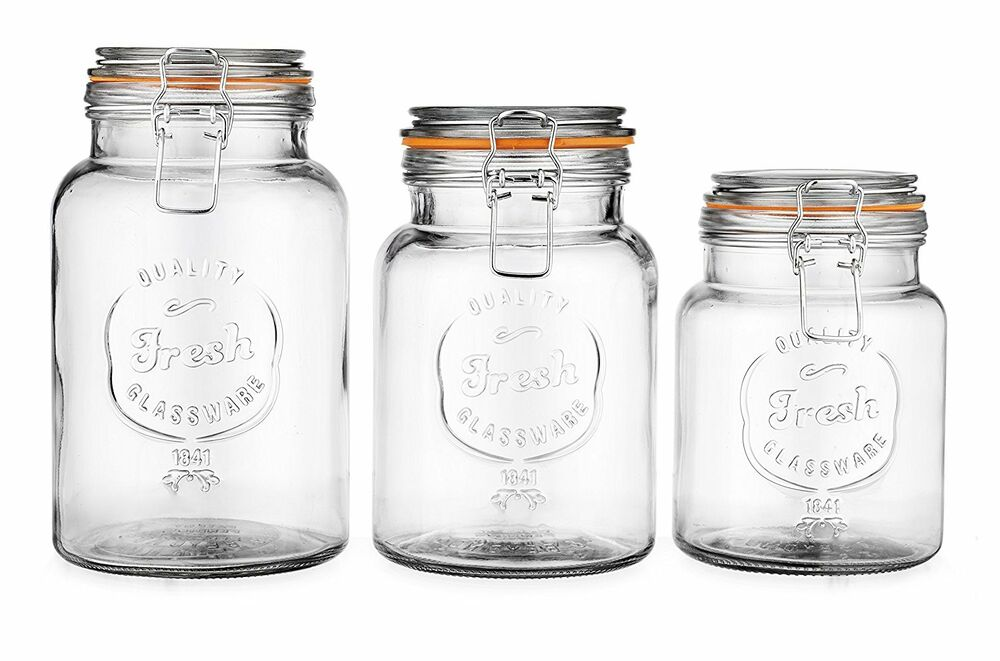 clear kitchen canisters glass canister fresh set of 3 clear glass storage 11015