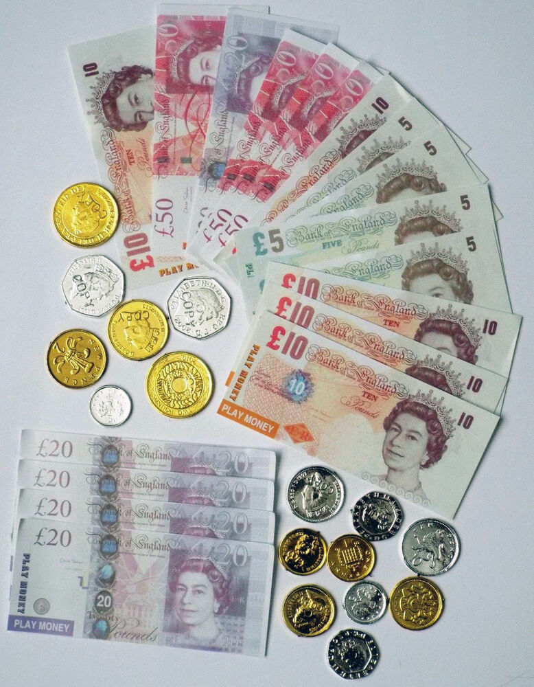 Fake Toy Money : Kids novelty toy play fake money coins bank notes pounds