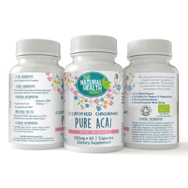 Organic Pure Acai Berry Capsules 100% Pure Antioxidant Rich Weight Loss Cleanse