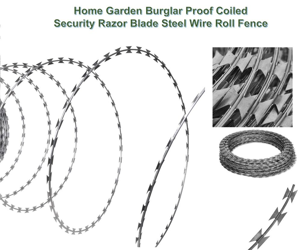 100m Home Burglar Proof Coiled Fence Security Razor Blade Barbed ...