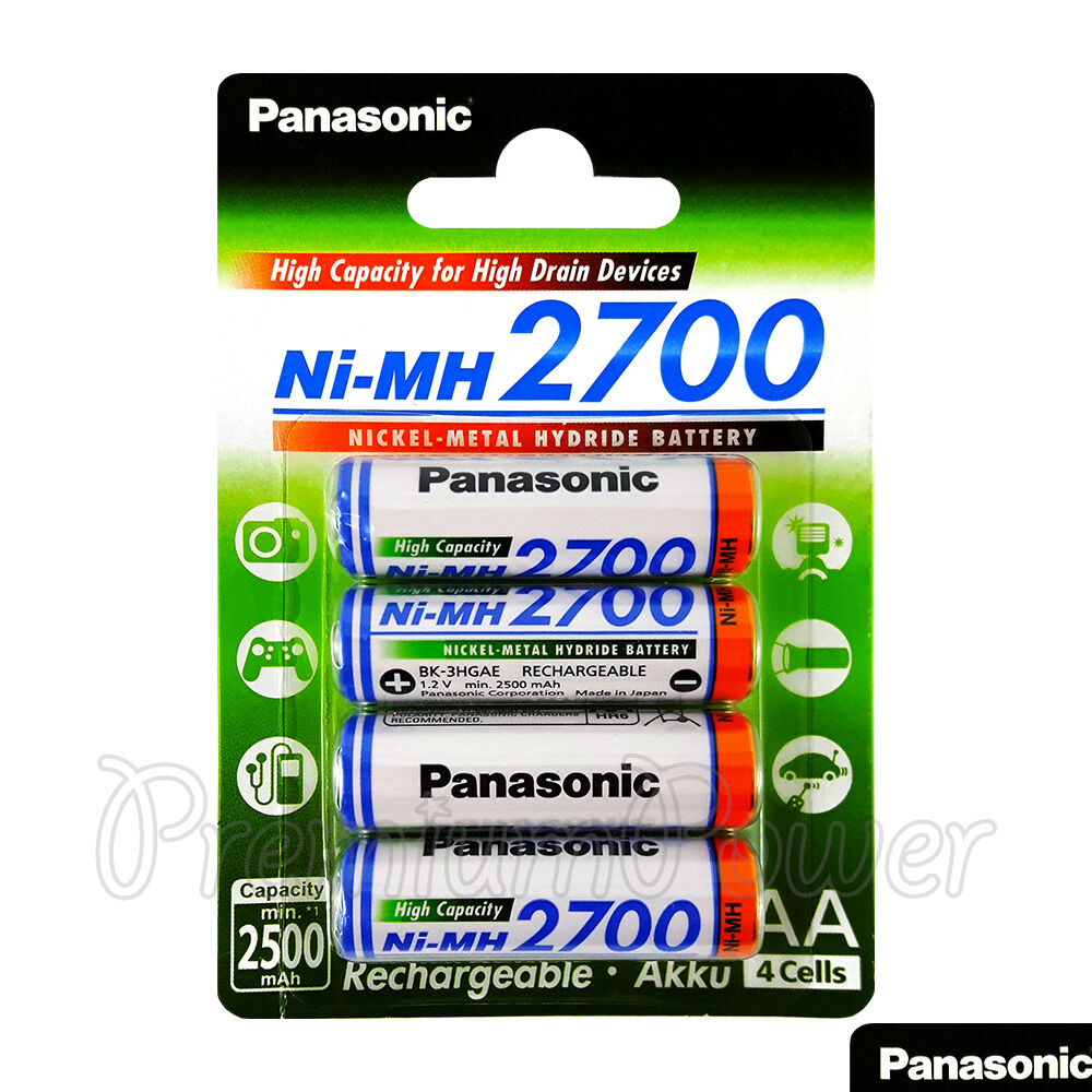 4 x panasonic aa batteries 2700mah rechargeable high. Black Bedroom Furniture Sets. Home Design Ideas