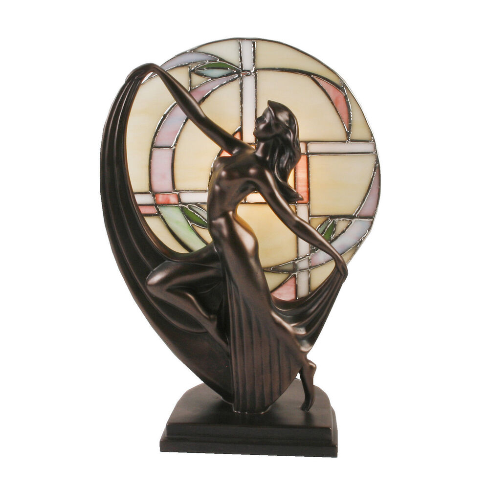 Art Deco Lady Tiffany Stained Glass Table Lamp Bronze