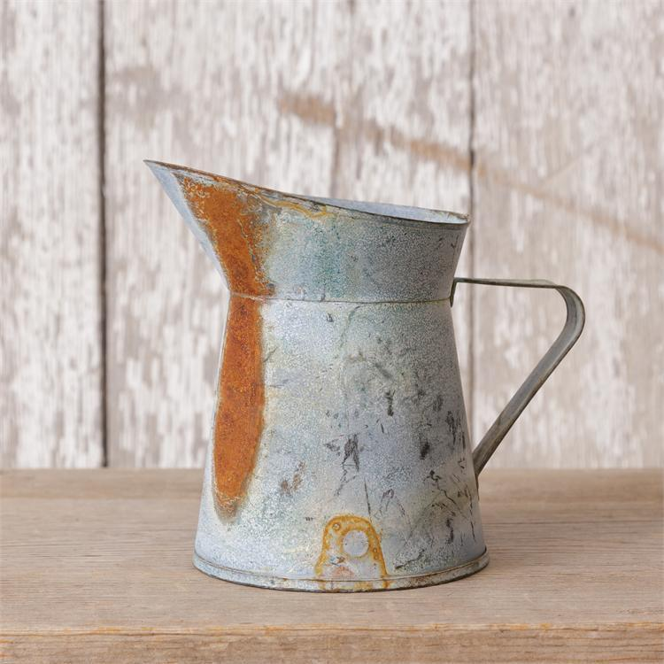 GALVANIZED SHORT PITCHER Rustic Tin French Vintage Style ...