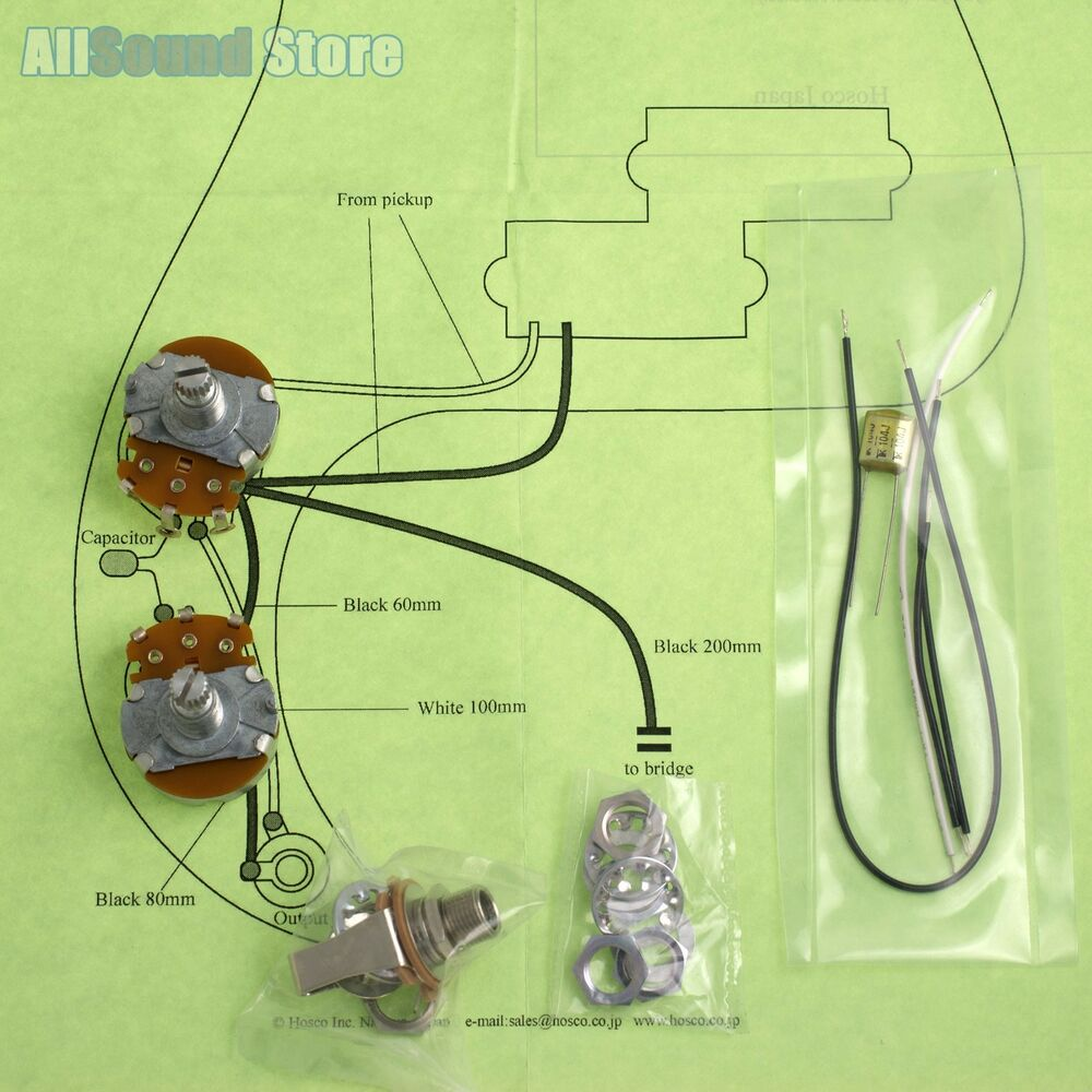 Wiring Kit for Import Fender Precision P-B COMPLETE & Diagram - Made on